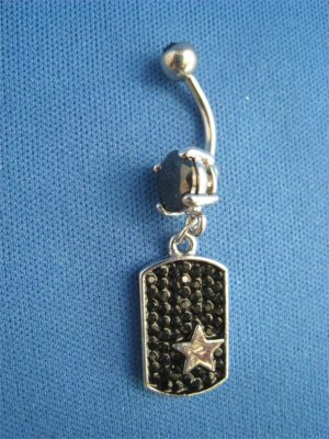 Belly Button Ring-Dogtag with Star