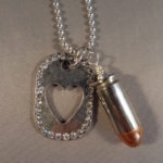 .45 ACP Necklace with Rhinestone Heart Dog Tag 1