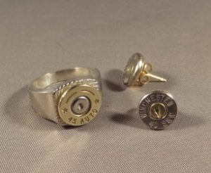 .45 Case Head RIng & .40 Earrings