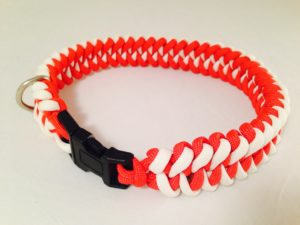 Glow-in-the-dark white and Red Dog Collar