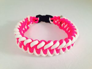 Glow-in-the-dark white and Neon Pink Dog Collar