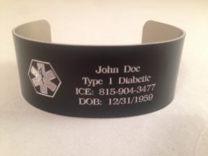 "Aluminum Medical ID Bracelet- 1.25"" wide"