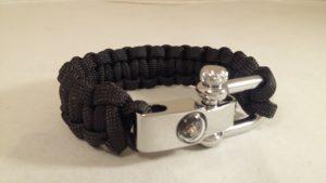 Black Cobra Weave Bracelet with Compass Shackle