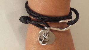 Black Fish Hook Wrap Bracelet with Engravable Disc and Anchor Charm