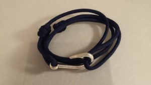 Navy Fish Hook Wrap Bracelet