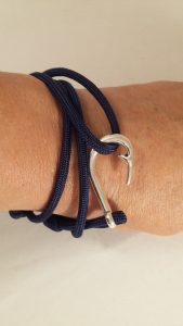Navy Fish Hook Wrap Bracelet