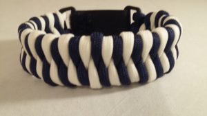 Navy/White Fish Tail Weave Bracel