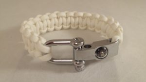 White Cobra Weave Bracelet with Compass Shackle
