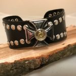 Black leather with celtic cross and 9 mm case head 1